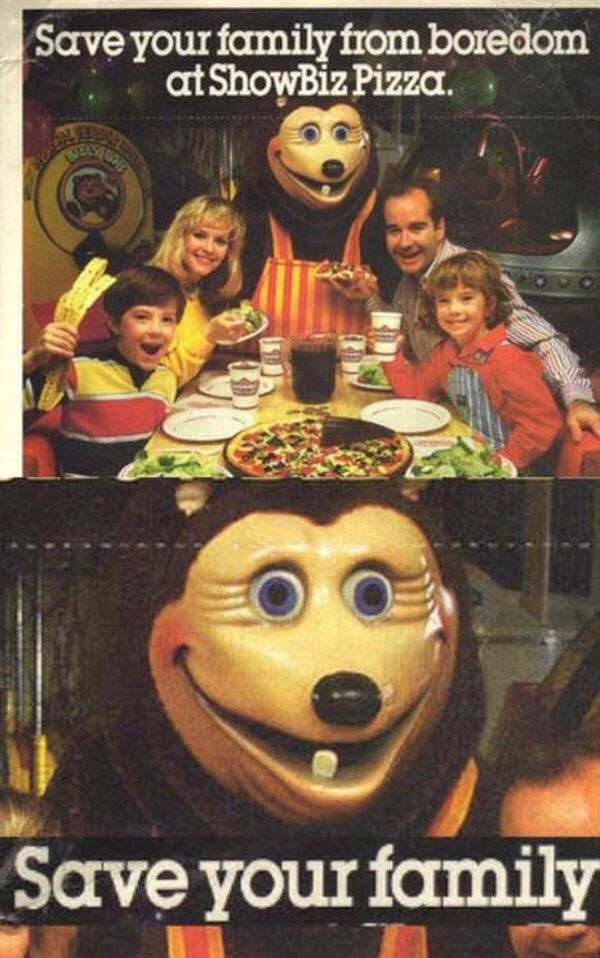 picture of scary mascot of Pizza restaurant that appears to be threatening your family