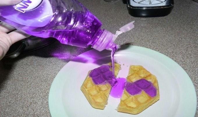 cursed image - Purple soap over waffle