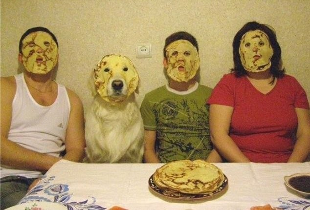 cursed image - Food pancakes on faces