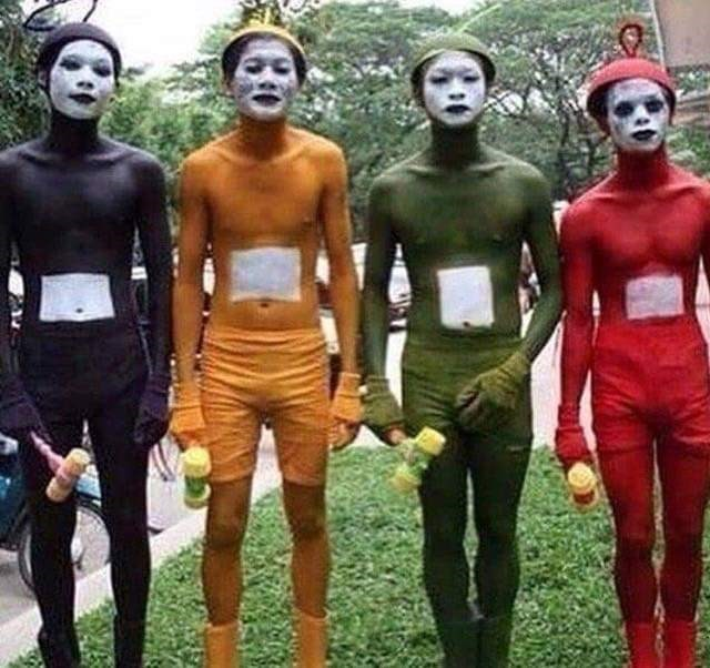 cursed image - Human teletubbies