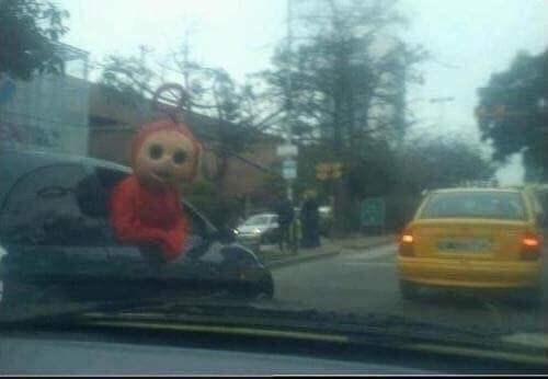cursed image - Mode of transport with teletubbie