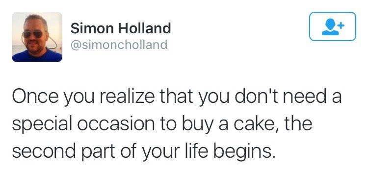 Funny meme about eating cake as an adult no matter the occasion.