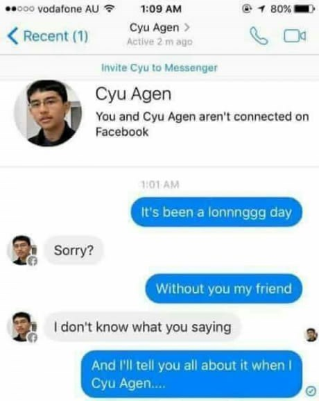 """Facebook chat making fun of a person's name sounding like """"see you again"""""""