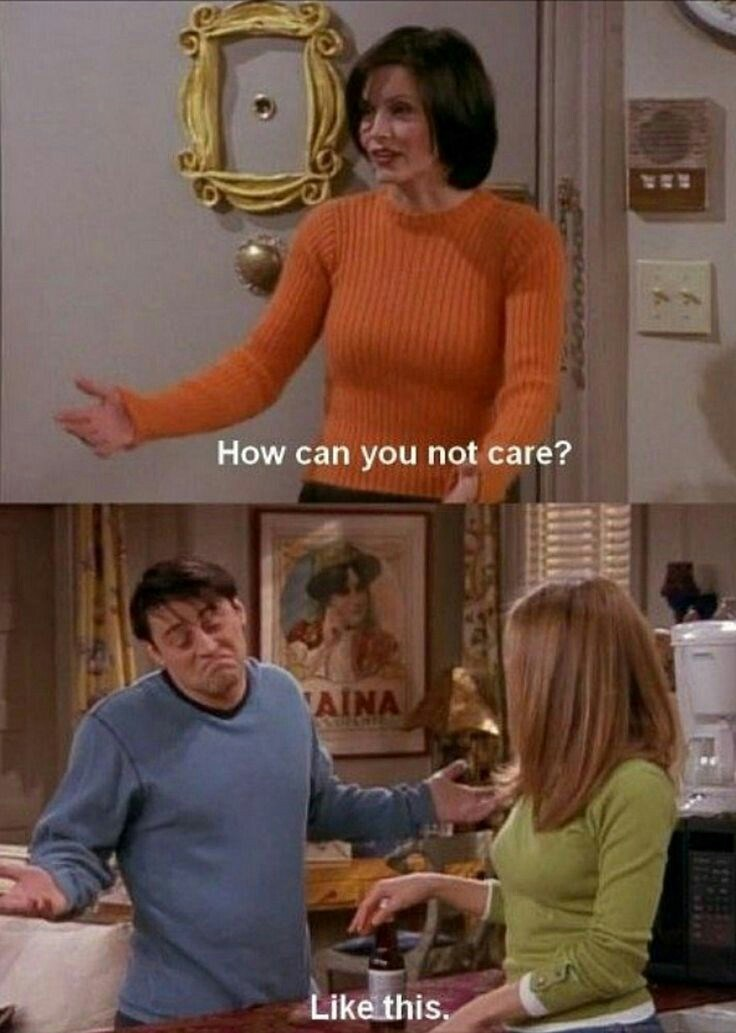 Friends meme about having no problem not caring for things