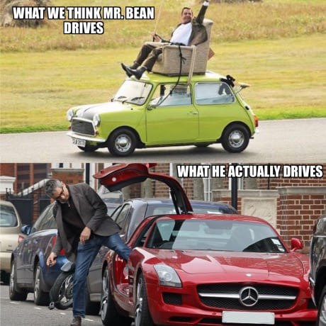 meme about Mr. Bean's actor Rowan Atkinson driving a sports car unlike the character he plays