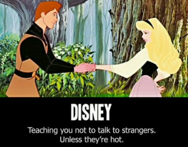 meme about the moral in Disney's Sleeping Beauty being that you should speak to hot strangers