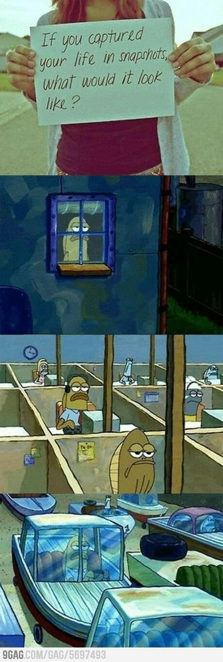 Spongebob meme about life with pictures of fish going through his repetitive daily routine