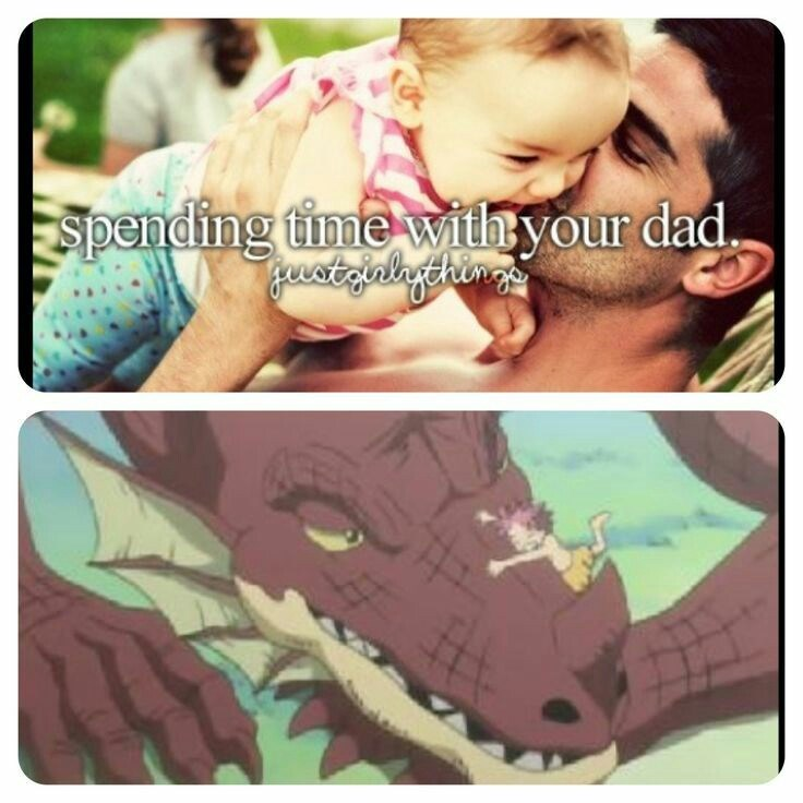 meme about spending time with your dad with picture of anime child raised by dragon