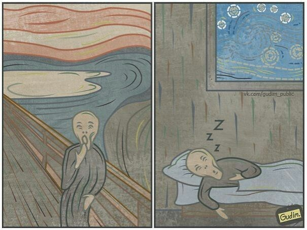 comic showing that the character in famous Edvard Munch piece isn't screaming but just yawning