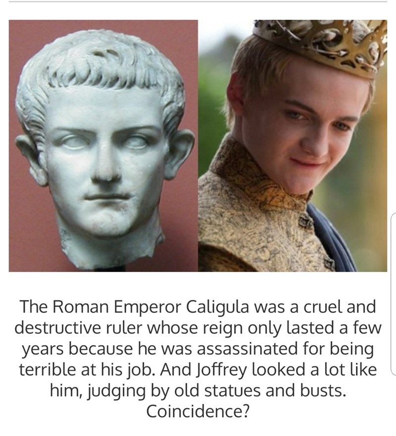 "Text that reads, ""The Roman Emperor Caligular was acruel and destructive ruler whose reign only lasted a few years because he was assassinated for being terrible at his job. And Joffrey looked a lot like him, judging by the old statues and busts. Coincidence?"""