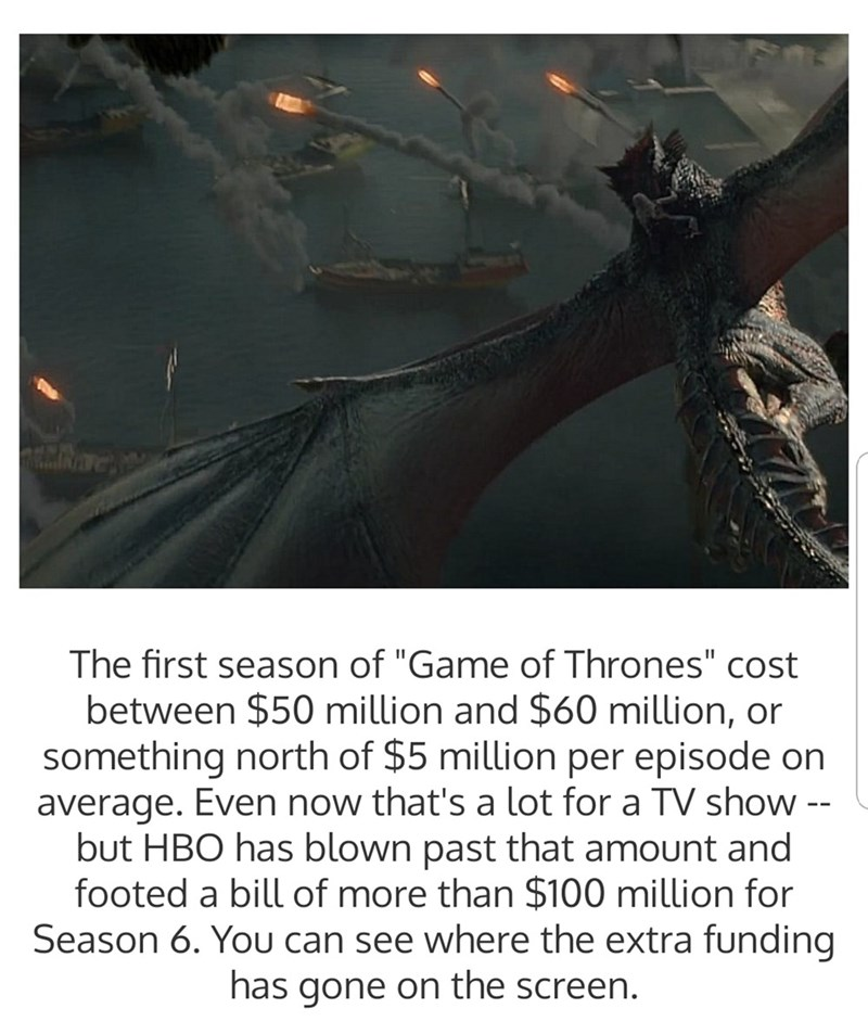 "Adaptation - The first season of ""Game of Thrones"" cost between $50 million and $60 million, or something north of $5 million per episode on average. Even now that's a lot for a TV show -- but HBO has blown past that amount and footed a bill of more than $100 million for Season 6. You can see where the extra funding has gone on the screen."