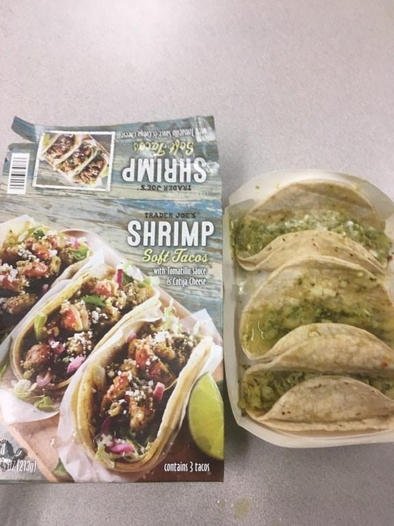 ad for shrimp tacos next to sad looking half empty taco shells