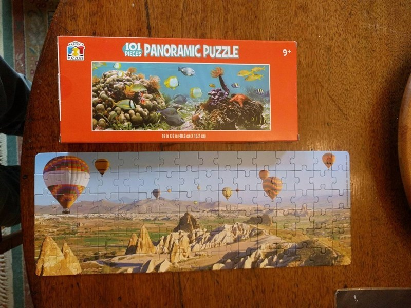 finished puzzle showing a different image than the one on the puzzle's box