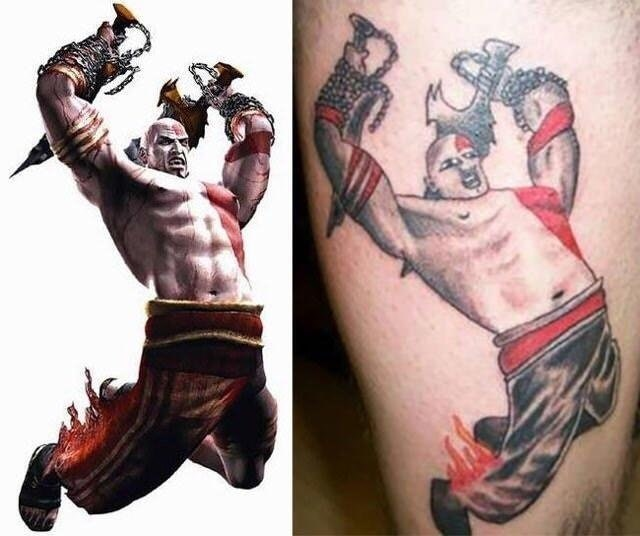 picture of bad tattoo of Kratos from God of War