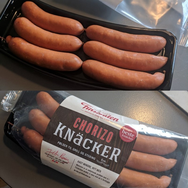 picture of small chorizo sausages packaged in a way that makes them appear bigger