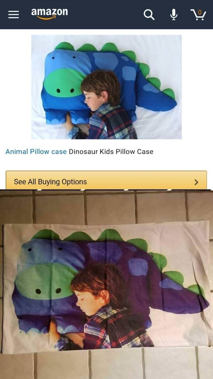 dinosaur shaped pillow that in reality is a pillow case printed with child sleeping on a dinosaur pillow