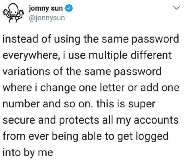 tweet post about passwords