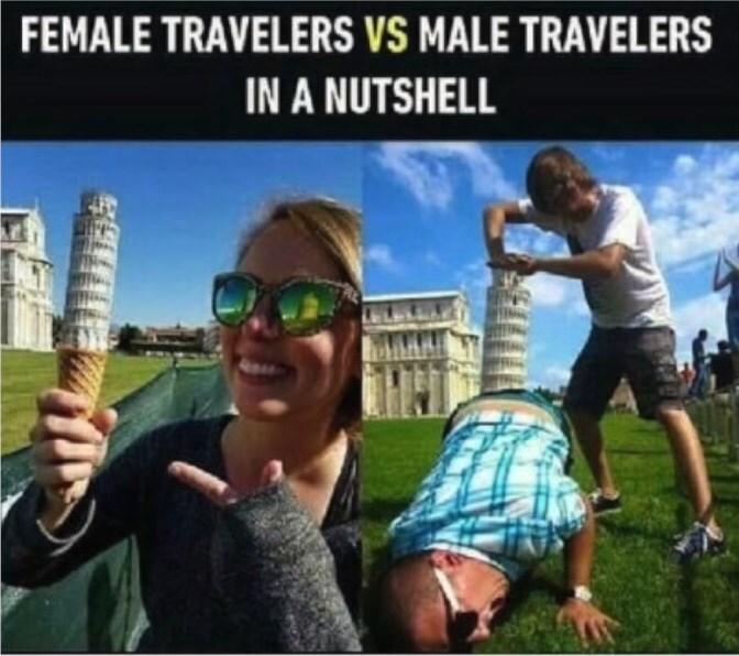 meme about male versus female travelers