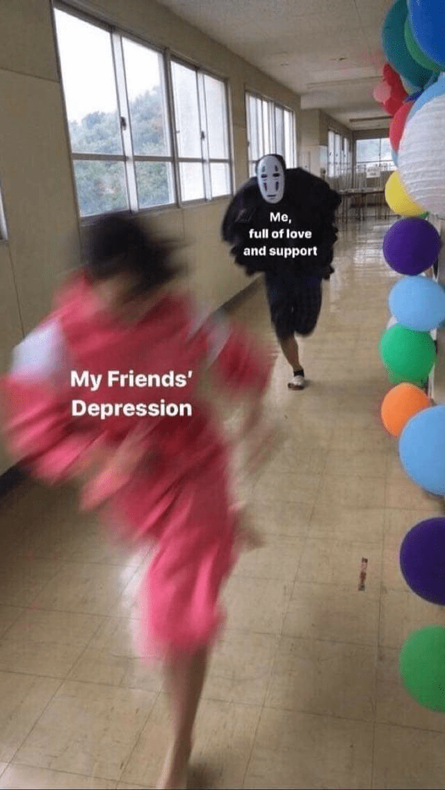 meme about trying to help a friend who is depressed