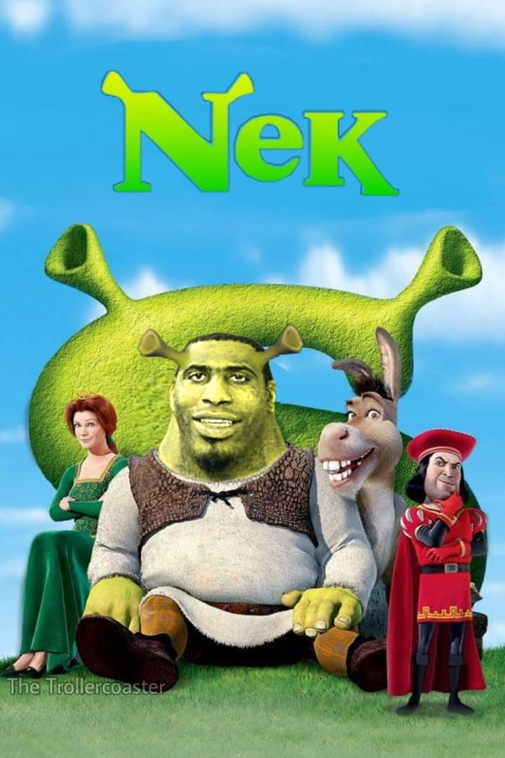 "Fake movie called ""Nek"" featuring the guy with the huge neck as a version of 'Shrek'"