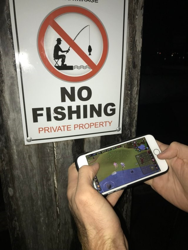 "picture of person playing fishing game on phone next to ""no fishing"" sign"