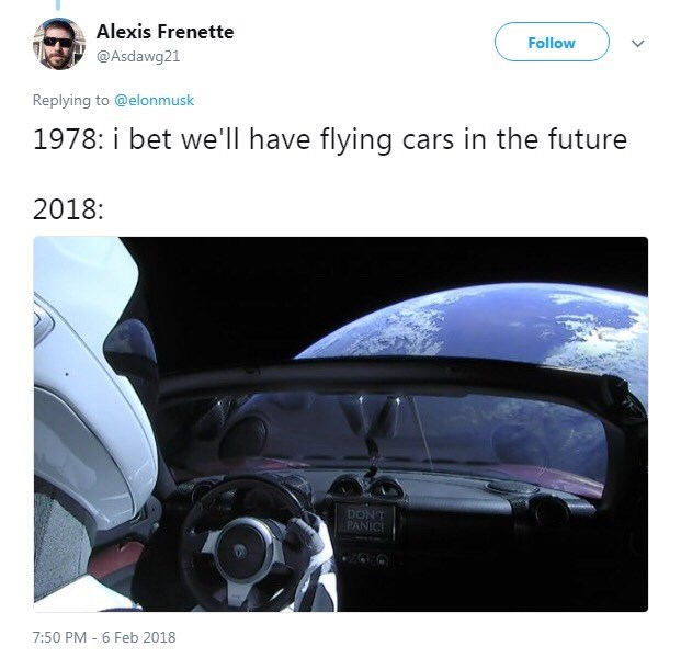 tweet about what people in 1978 thought the future would be like with picture of the Tesla car SpaceX sent to space