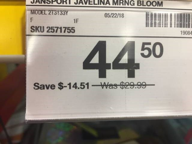 Text - AVELINA MRNG BLOOM JAN MODEL 273133Y 05/22/18 F 1F SKU 2571755 19084 44 50 Save $-14.51-Was $29.99