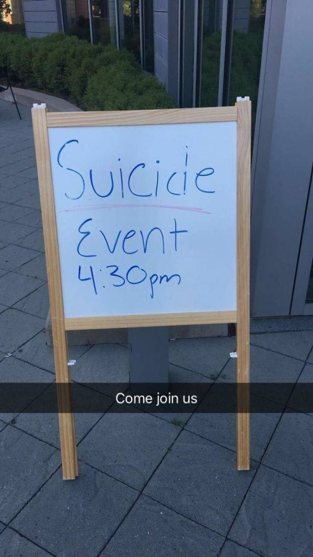 Text - Suicide Event 4.30pm Come join us
