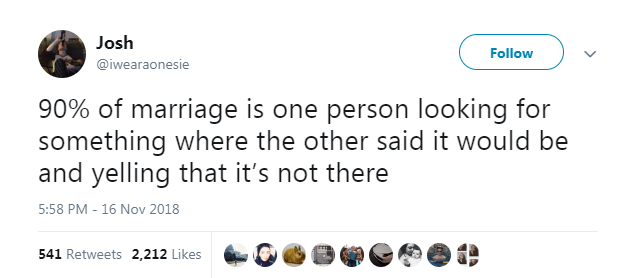 Text - Josh Follow @iwearaonesie 90% of marriage is one person looking for something where the other said it would be and yelling that it's not there 5:58 PM - 16 Nov 2018 541 Retweets 2,212 Likes