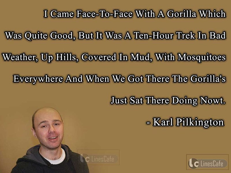 Karl Pilkington quote about the journey he had to take on his way to meet a gorilla