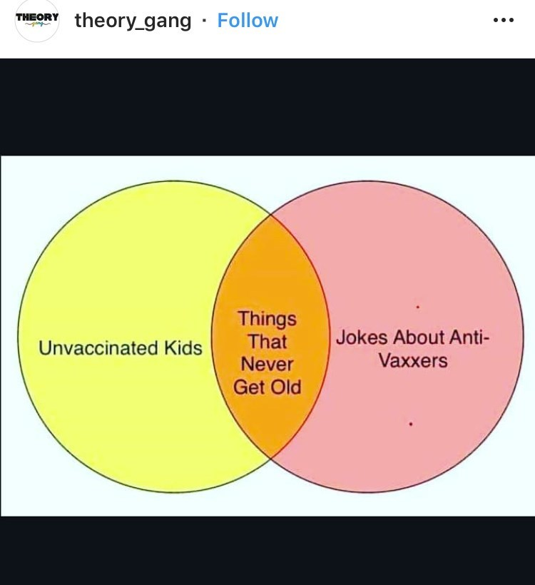 dank meme about anti vaxxers' children dying young with Venn diagram comparing them to anti vaxx jokes