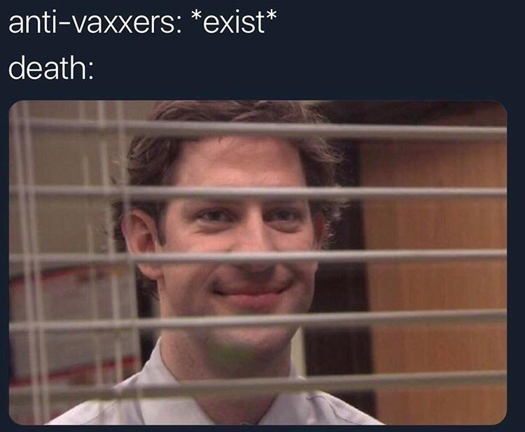 Jim from the Office looking through shades representing death waiting to kill anti vaxxers