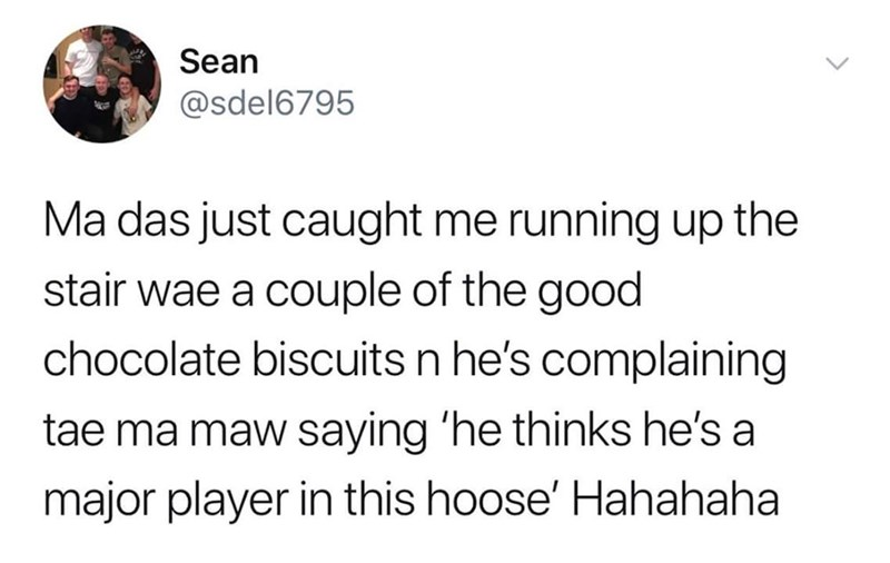 tweet post about being caught with biscuits