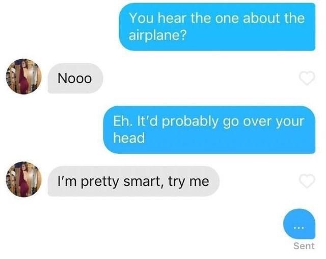 Text - You hear the one about the airplane? Nooo Eh. It'd probably go over your head I'm pretty smart, try me Sent