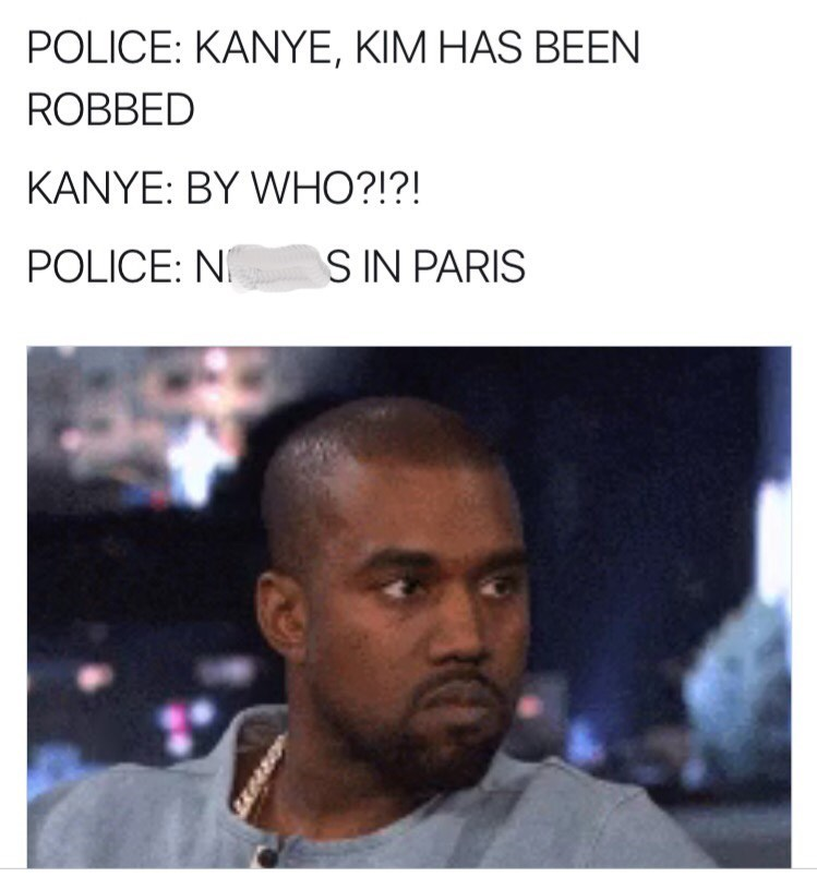 meme about kim and kanye being robbed in paris