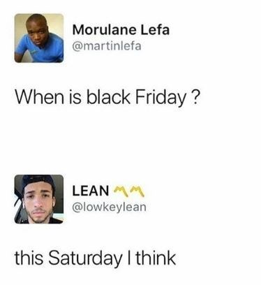 post about black friday being on saturday