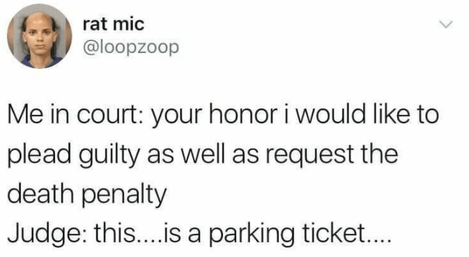 Text - rat mic @loopzoop Me in court: your honor i would like to plead guilty as well as request the death penalty Judge: this... .is a parking ticket....