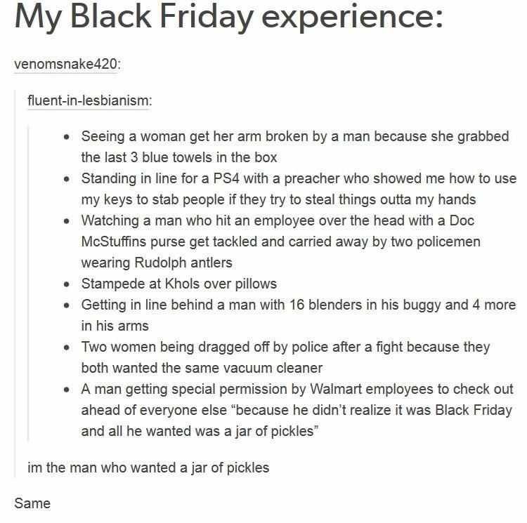 post about a persons crazy black Friday experience