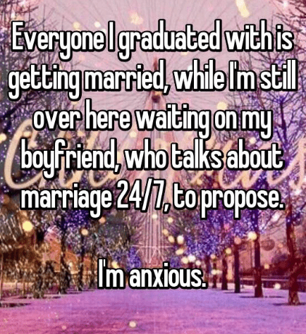 Text - Everyonelgraduated withs gettingmarried, while Im stil Over here waiding on my rewaitir boul Friend, who talks about marrage 24/1,Co propose Im anxious