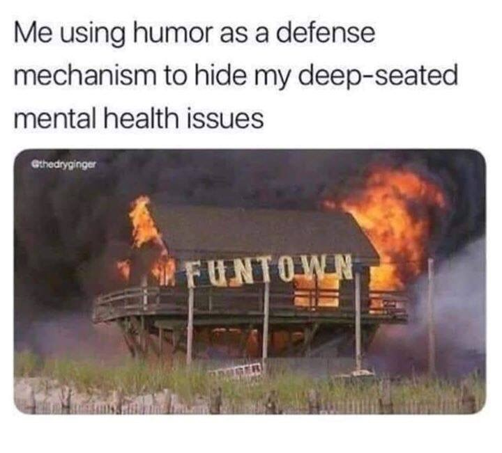"""picture of burning house with the words """"fun town"""" written on its front representing my mental health"""
