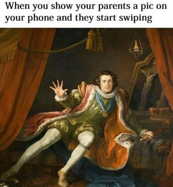classic painting of person holding up hand in fear representing how you feel when your parents start looking through your phone