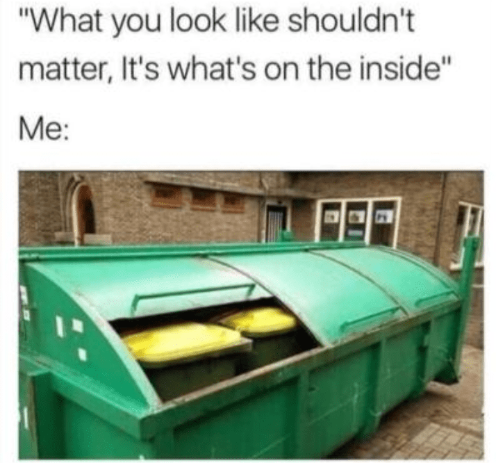 picture of dumpster full of smaller trash bins representing what you look like on the inside