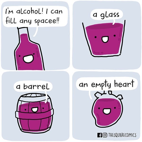 comic about drinking alcohol to fill the void in your heart