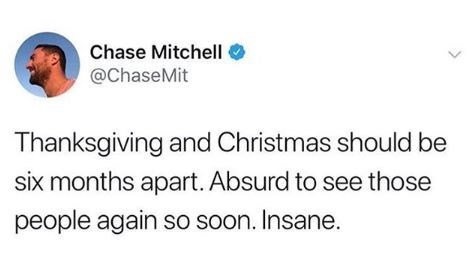 tweet post about how thanksgiving and Christmas are too close together