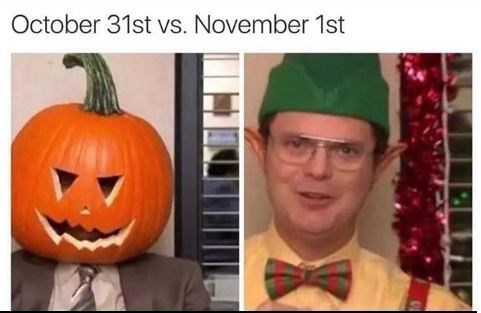 the office meme of Dwight during Halloween and Christmas