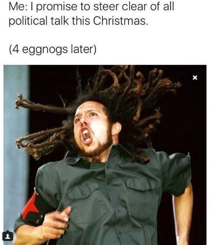 meme about not wanting to talk about politics during christmas