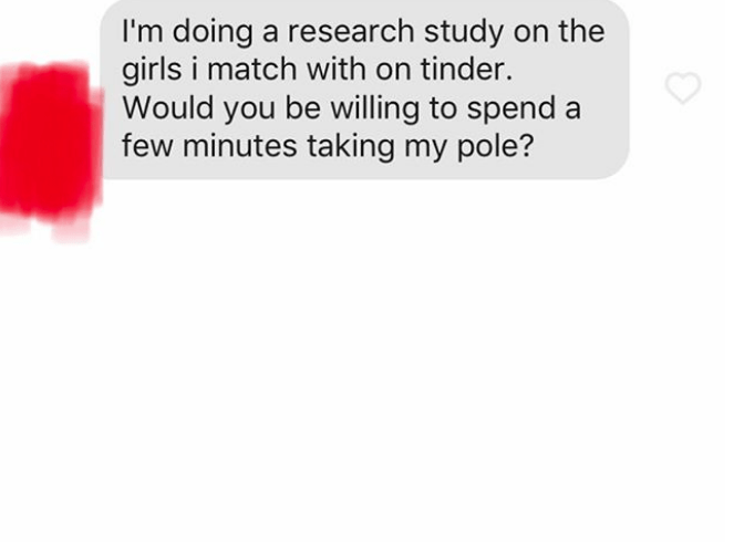 Text - I'm doing a research study on the girls i match with on tinder. Would you be willing to spend a few minutes taking my pole?
