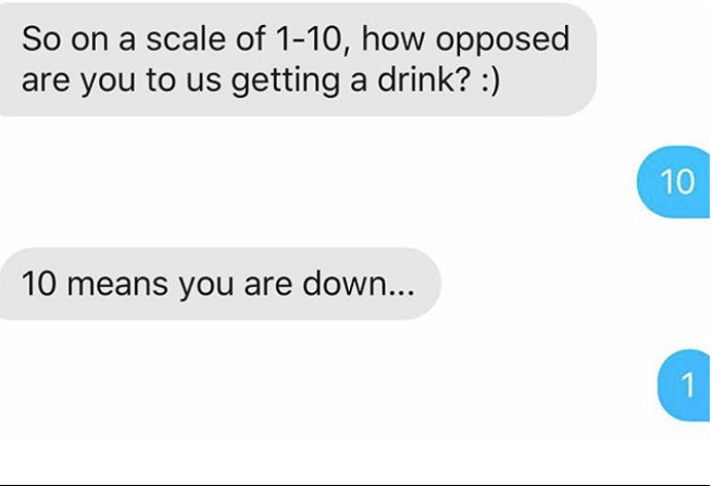 Text - So on a scale of 1-10, how opposed are you to us getting a drink? :) 10 10 means you are down... 1