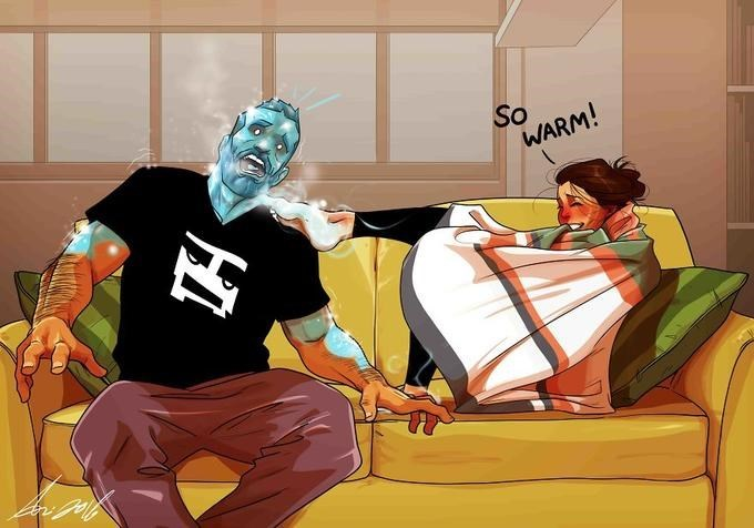 Illustration of the two sitting on the couch; Maya is wrapped up in blankets saying 'so warm;' she touches Yehuda with her foot and he turns to ice