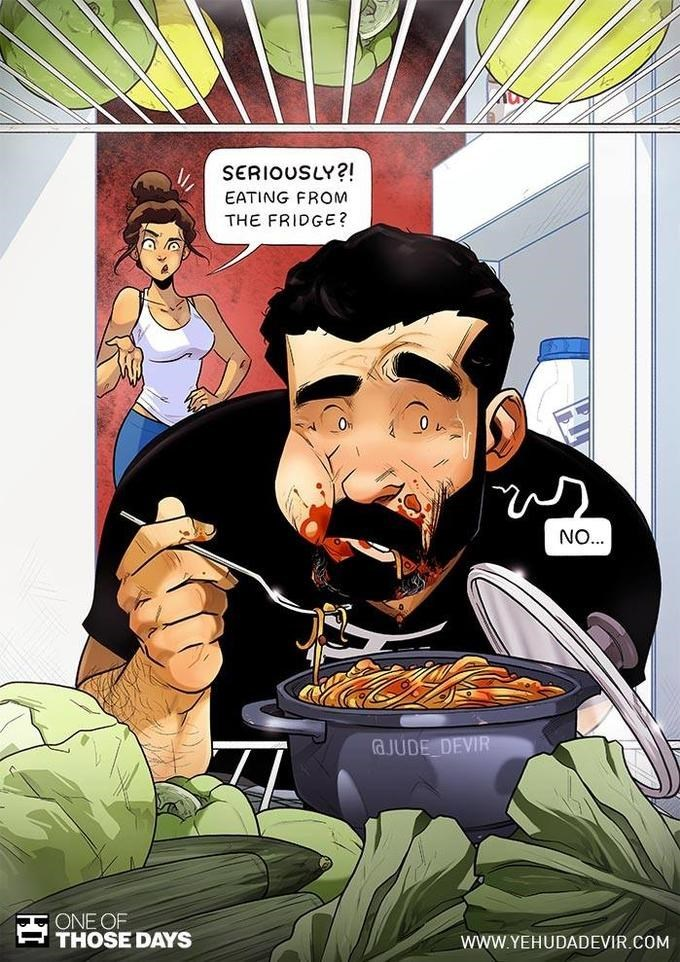 """Illustration of Yehuda eating spaghetti straight from the fridge while his wife catches him and says, """"Seriously?! Eating from the fridge?"""""""